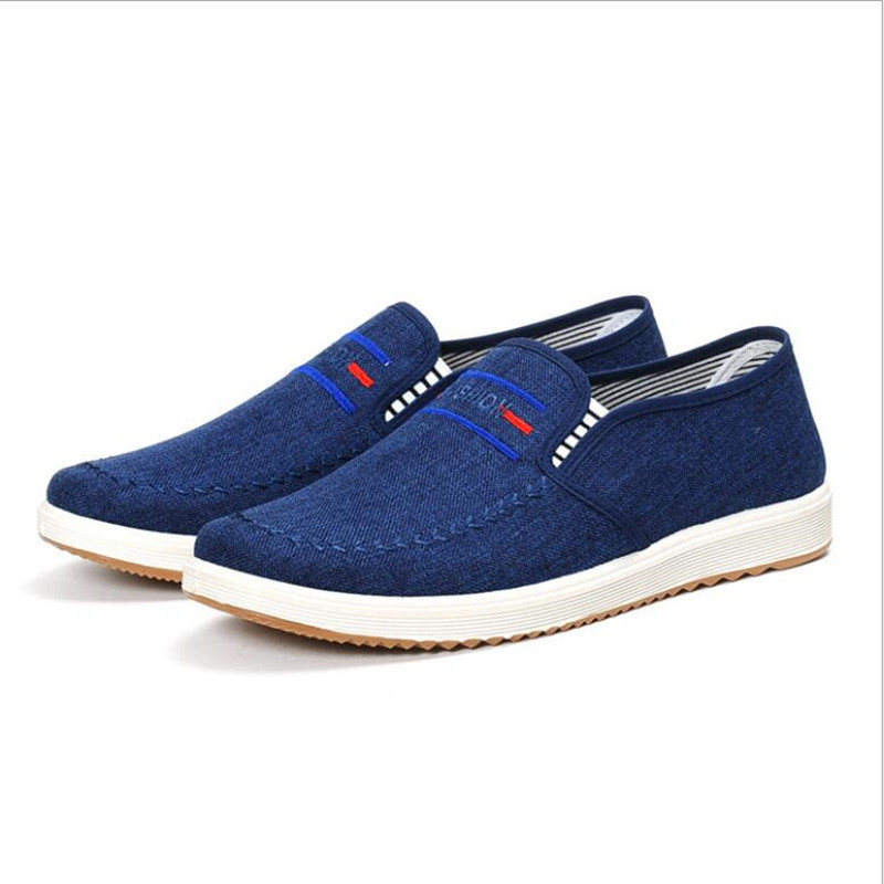 Summer Canvas Shoes Men Sneakers Casual Flats Slip On Loafers Moccasins Male Shoes Adult Denim Breathable Gray zapatos hombre цена