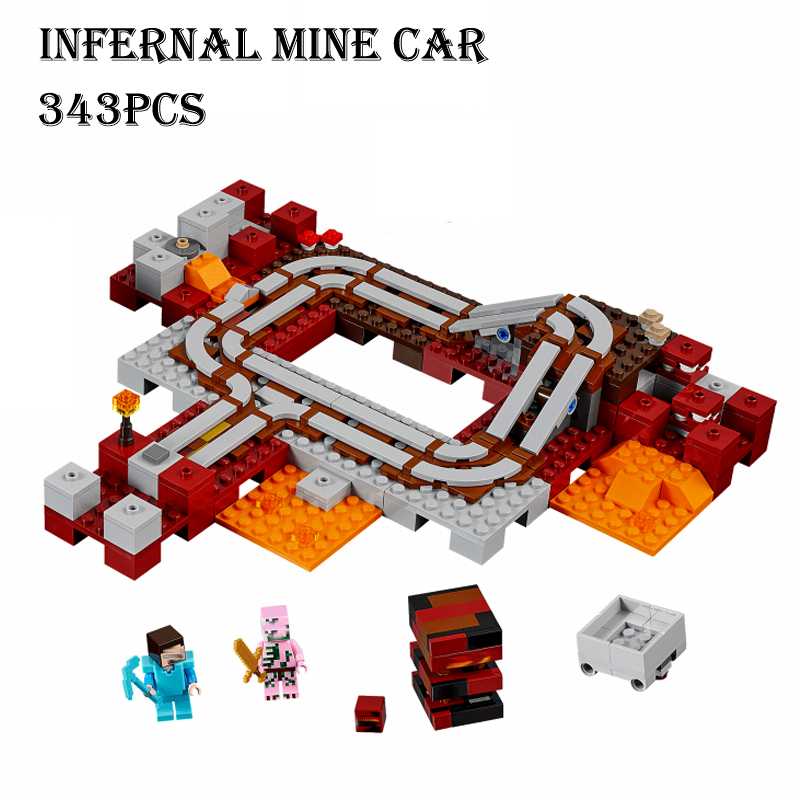 JENS store Model building kits compatible with lego 21130 18024 my world MineCraft The Nether Railway Educational toys hobbies for children