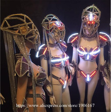 Led Luminous Sexy Evening Dress Catwalk Show Clothes Carnival Victoria Ballroom Costume Stage Dance DJ Singer Cosplay Clothing