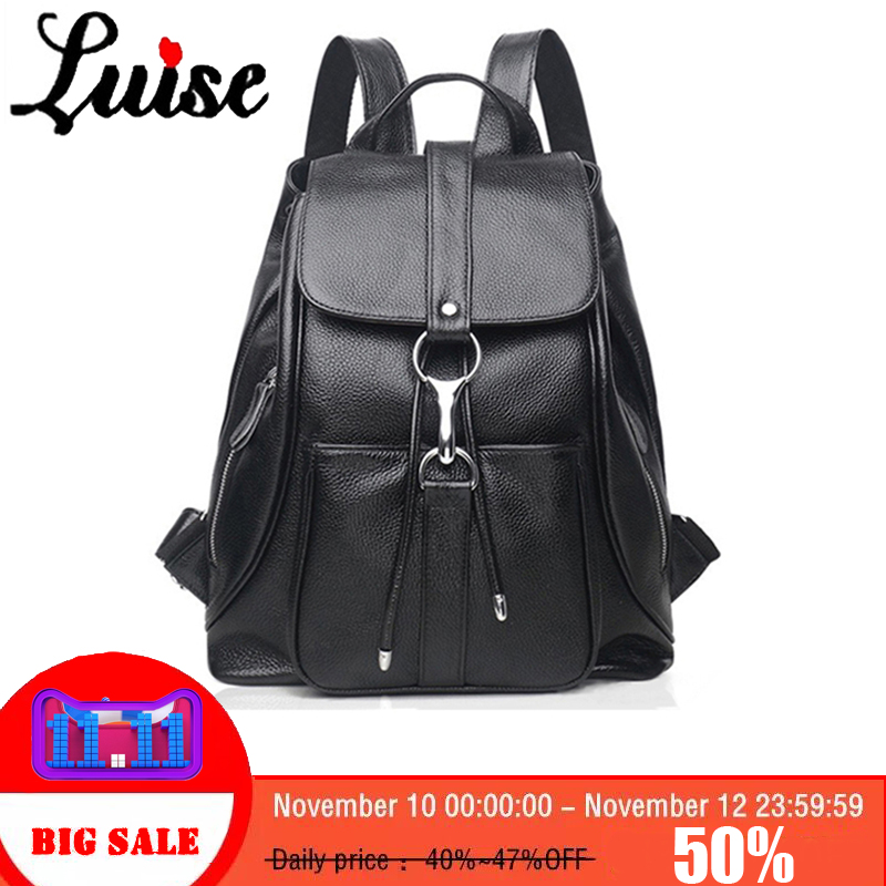 LUISE Women Backpack Genuine Leather Girls School Bags Real Cow Skin Female Shoulder Bag Large Capacity Ladies Travel Bag Daily cow genuine leather backpack female leisure style school bag ladies high quality leather daily bag women soft travel bag n140