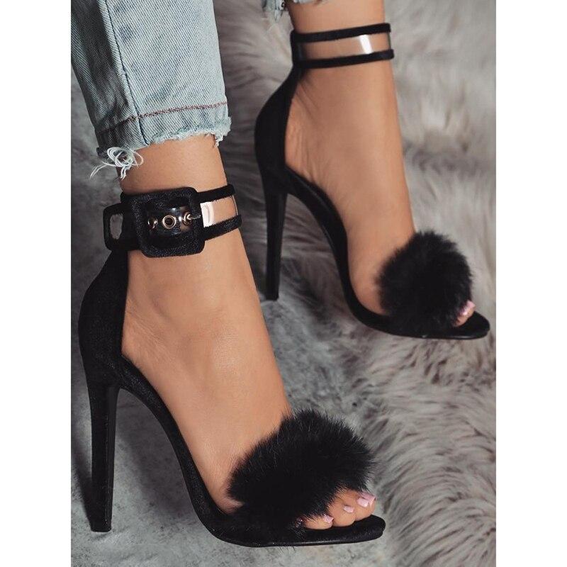 Sangle Gladiateur Beige Cheville Mariage Sexy Talons black Dijigirls Chaussures Fourrure Stiletto Sandales Femmes Hauts Ug7zqw80Y