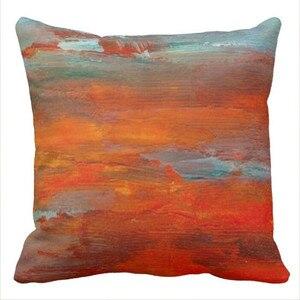 Наволочка с абстрактным оранжевым синим закатом на пляже