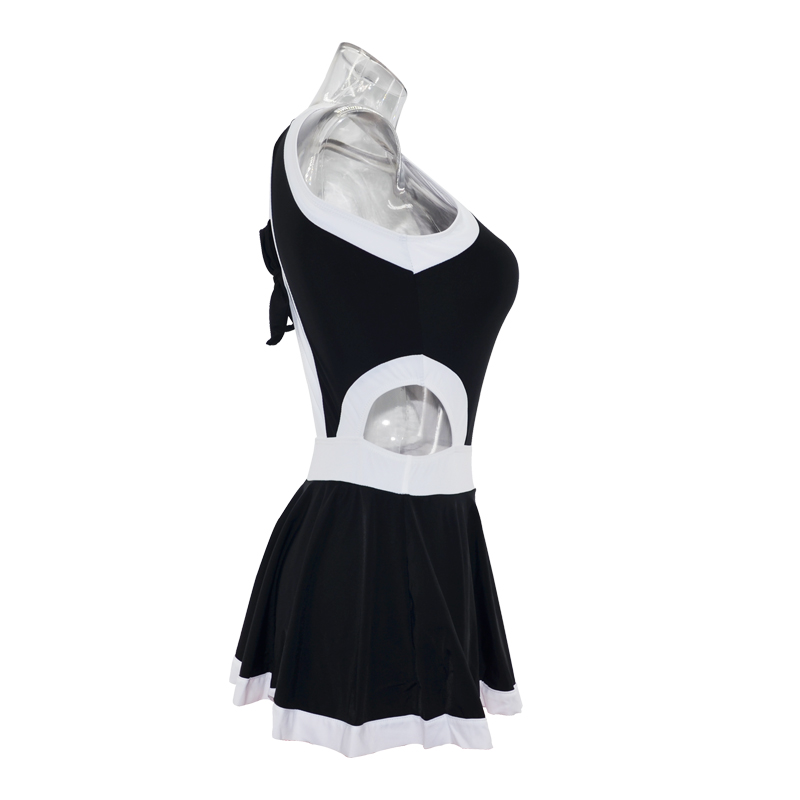 37ca11ddd4032 etekli mayo Korean Swimsuit women cut out Skirted Swimwear High neck One  Piece Swimsuit Skirt white black beach-in Body Suits from Sports   Entertainment  on ...
