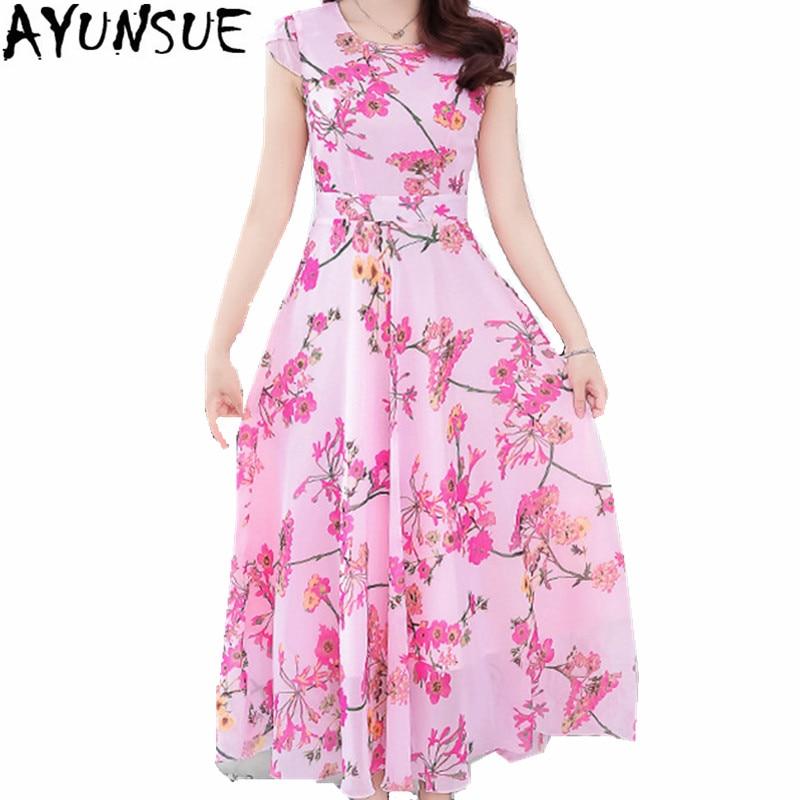 AYUNSUE Exquisite Chiffon Dress 2018 Lady Elegant Summer Dresses Female Slim Floral Dress Casual Women Dresses Vestidos WXF098