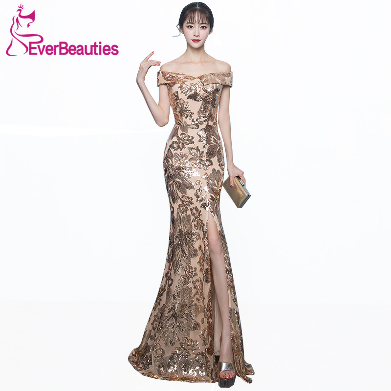 Robe De Soiree Mermaid Evening Gowns Long 2019 Bling Sequin Boat Neck Evening Dress Side Split Wedding Guest Abiye in Evening Dresses from Weddings Events