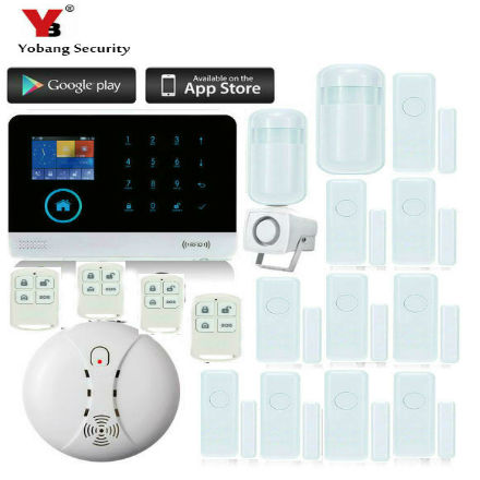 YobangSecurity Touch Keypad GSM GPRS RFID Wireless Wifi Home Burglar Security Alarm System Android IOS APP Wireless Siren wireless smoke fire detector for wireless for touch keypad panel wifi gsm home security burglar voice alarm system