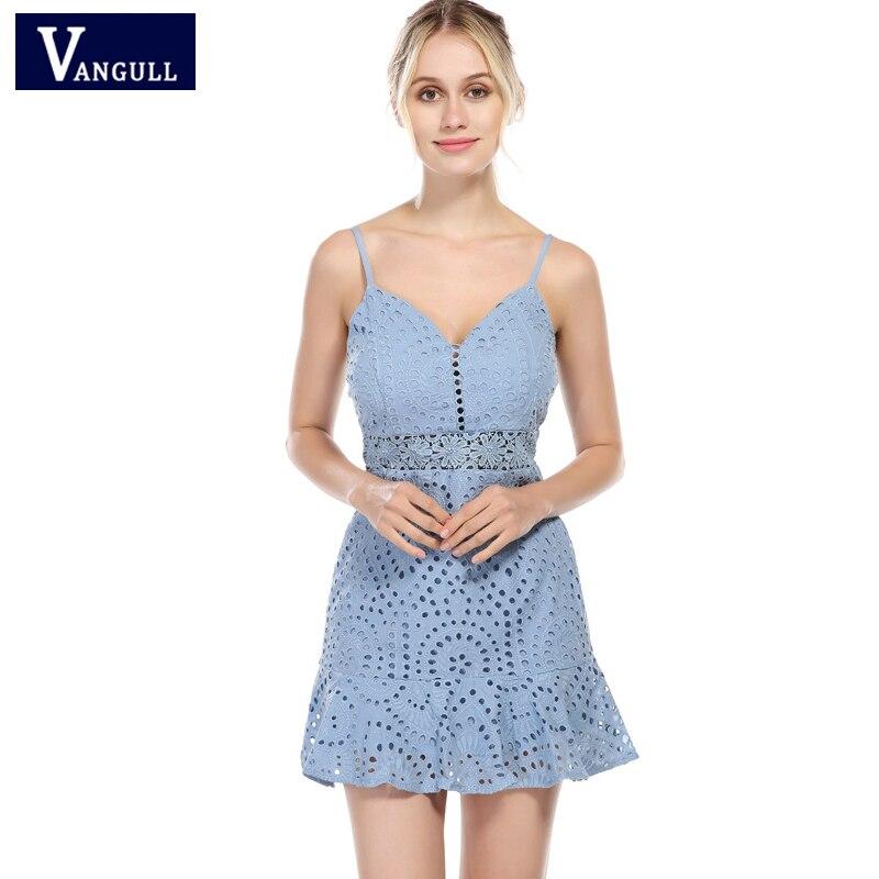 Vangull Summer Women's Clothing Lace Hollow Out Female Dresses Solid Sleeveless Spaghetti Strap V-Neck elegant Fashion Dresses