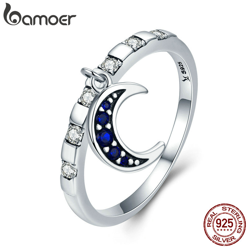 BAMOER Genuine 925 Sterling Silver Day Ring Monday Moon God Dangle Female Ring for Women Sterling Silver Jewelry Gift SCR266
