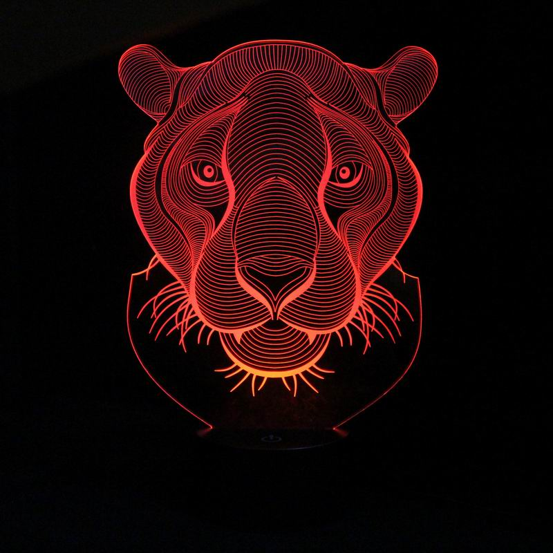 Amazing 3D LED Lamp Tiger Shape LED Night Lights with 7 Colors Light for Home Decoration