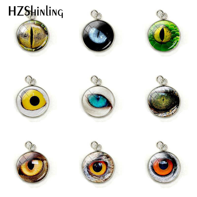 Animal Eyes Dragon Snake Owl Cats Tiger Eyes Glass Cabochon Charms Handmade Jewelry Stainless Steel Plated Pendant Accessories