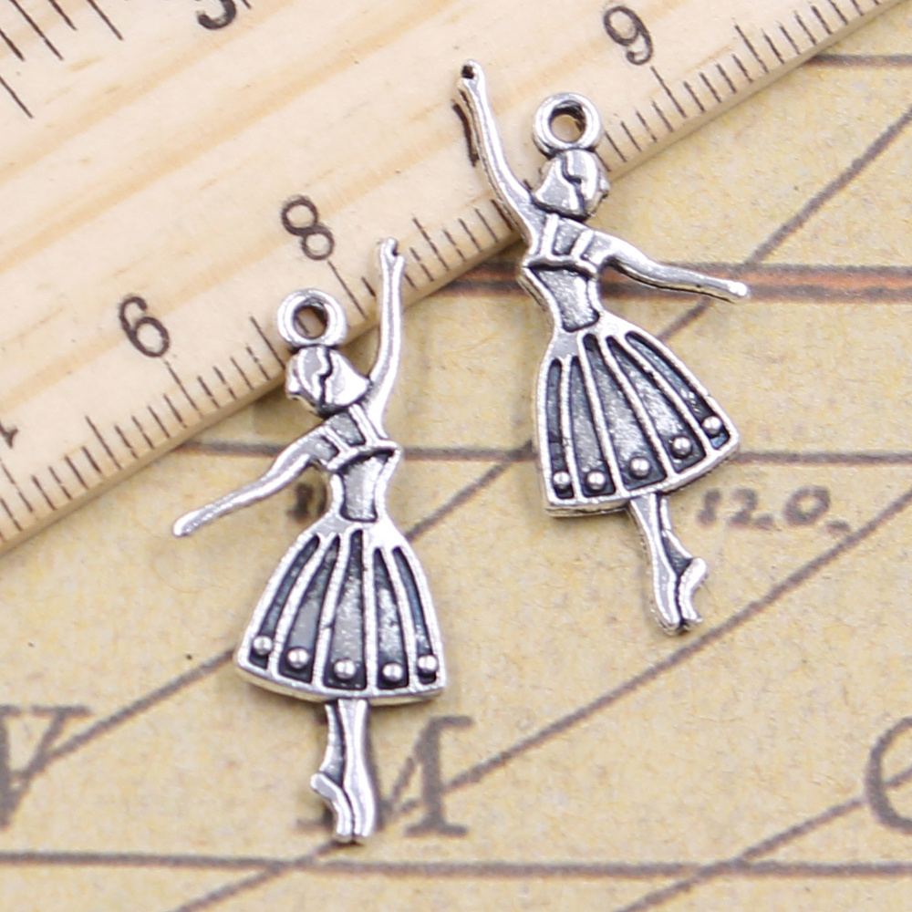 15pcs//lot Vintage Bronze Cute Ballet Dance Girl Alloy Pendants Jewelry Crafts
