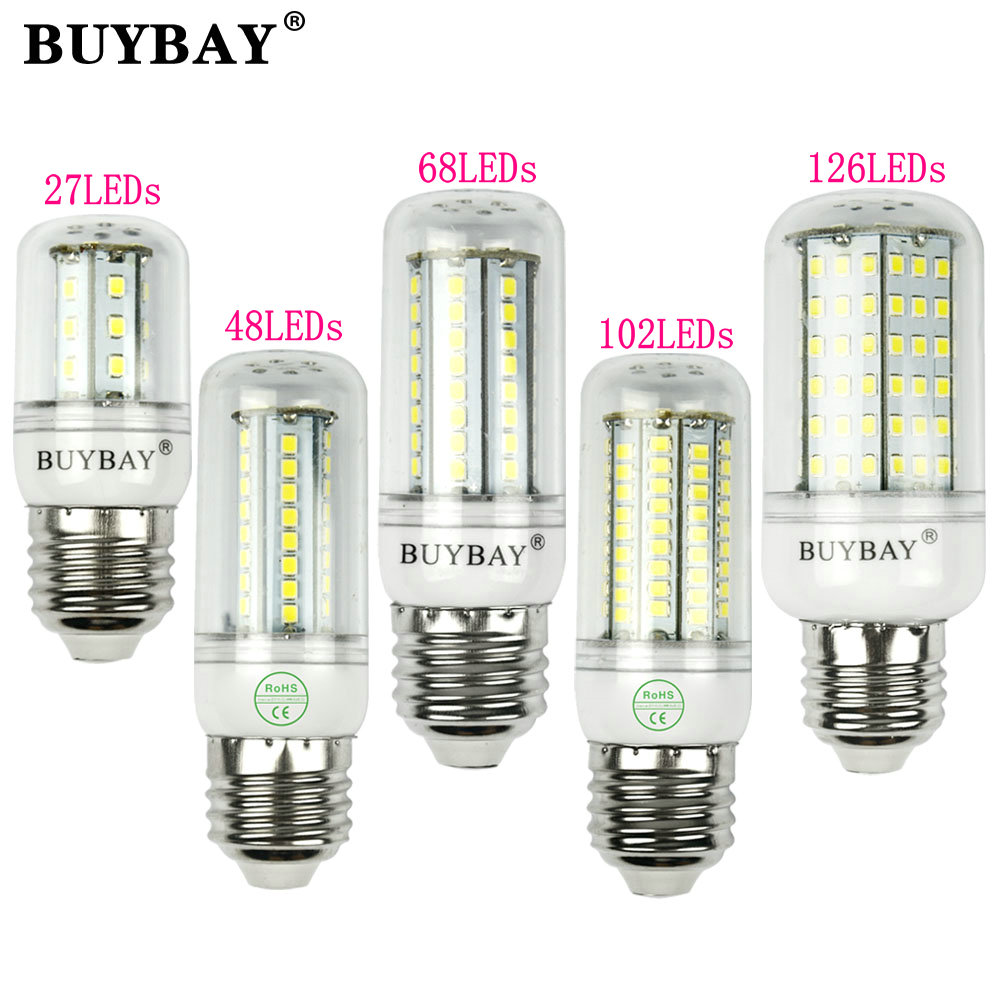 Светодиодная лампа 220 В SMD 2835 E27 светодиодные лампы теплый белый/белый 27 48 68 102 126 светодиоды ampada светодиодные лампы для украшения дома