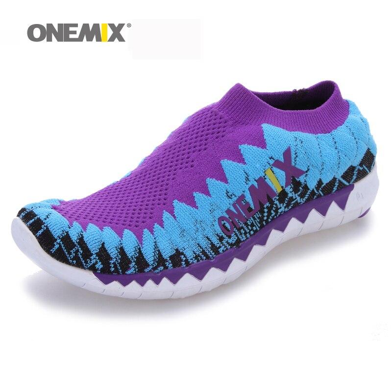Onemix zapatillas para hombre transpirable zapatos de las mujeres unisex tejer s