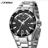 SINOBI Top Brand Luxury Full Steel Wrist Watch Men Watch Waterproof Men's Watch Auto Date Luminous Watches Men Clock saat