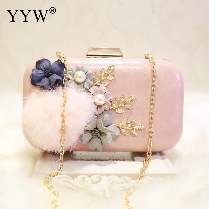 Sac de pochette en cuir synthétique polyuréthane avec une boule de fourrure sacs de soirée Vintage fête mariage Floral sacs à bandoulière pochettes blanc clair sac à main rose