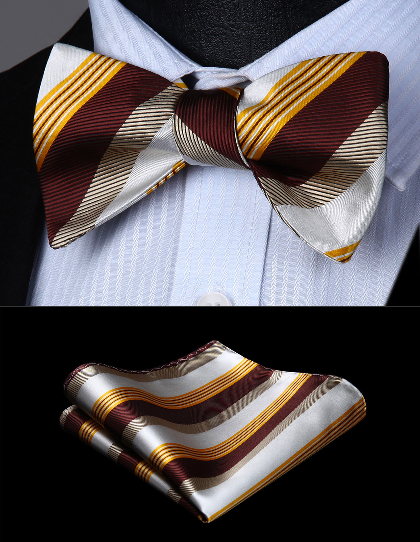 Bow Tie Handkerchief Set Men WovenParty Wedding  Brown White Yellow Striped Self Bow Tie  Pocket Square Set#BS612YS