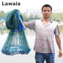 Lawaia Big Fishing Net Magnet Hand Netting Fly Cast Net Rubber Green Filament GREEN Net Toughness Durable Weight 2kg-4kg