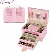 Guanya 5 kolory luksusowe pudełko z biżuterią skórzane schowek kosmetyczne box jewel box z bardzo duża pojemność dostosowywania