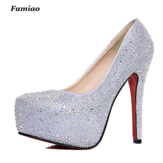 FAMIAO women high heels prom wedding shoes lady crystal platforms silver  Glitter rhinestone bridal shoes thin 97b96e33f613