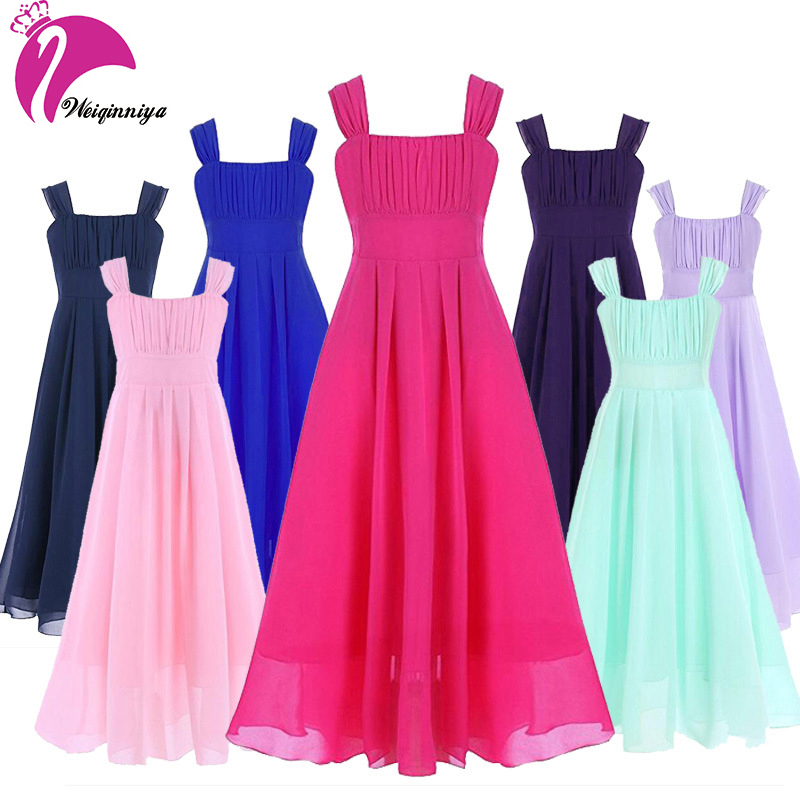 Summer Dress For Girls New Brand 2017 Fashion Solid Sleeveless Chiffon Sling Dress Kids A-Line Weeding Infantis Vestido Clothes summer alluring spaghetti straps sleeveless spliced solid color dress for women