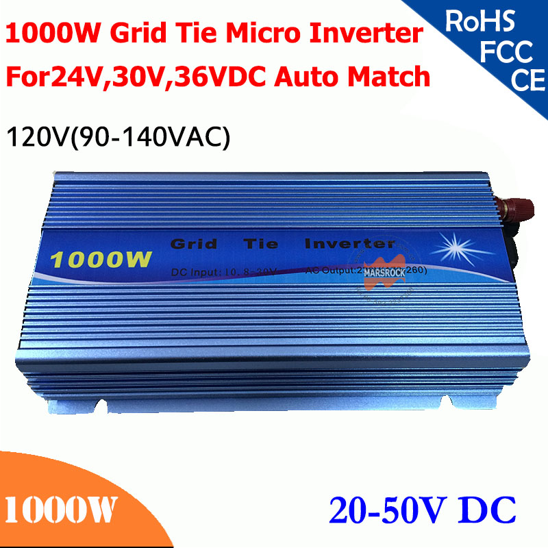 New 1000W grid tie micro inverter,20V-50V DC, 90V-140V AC, workable for 1200W, 24V, 30V, 36V solar panel system, color choose maylar 500 w solar grid tie micro power inverter 10 5 30vdc 90 140vac 180 260vac 50hz 60hz for solar home system