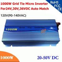 New 1000W grid tie micro inverter,20V 50V DC, 90V 140V AC, workable for 1200W, 24V, 30V, 36V solar panel system, color choose