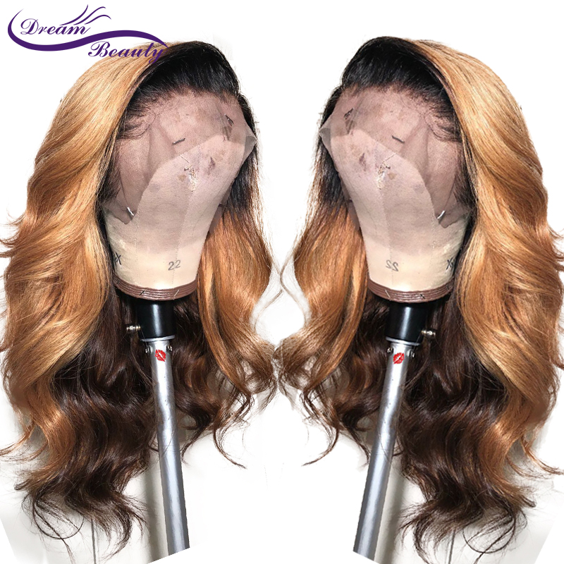 Highlight Color Lace Front Human Hair Wigs Baby Hair Pre-Plucked Hairline Brazilian Remy Wavy Hair Glueless Wigs Dream Beauty