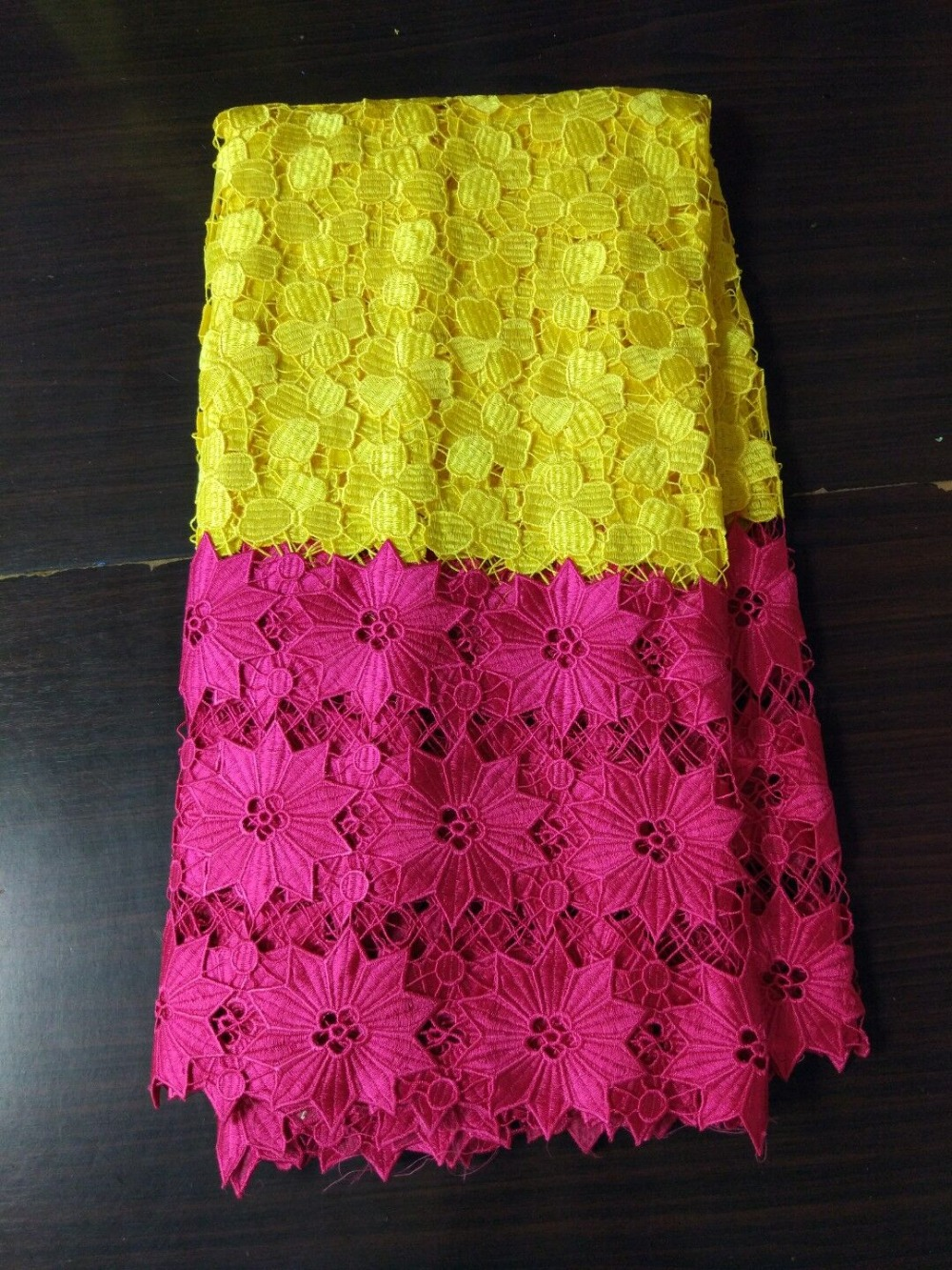 5Yards/pc New fashion yellow and fuchsia flower african water soluble lace embroidery french mesh cord lace for clothes BW124-65Yards/pc New fashion yellow and fuchsia flower african water soluble lace embroidery french mesh cord lace for clothes BW124-6
