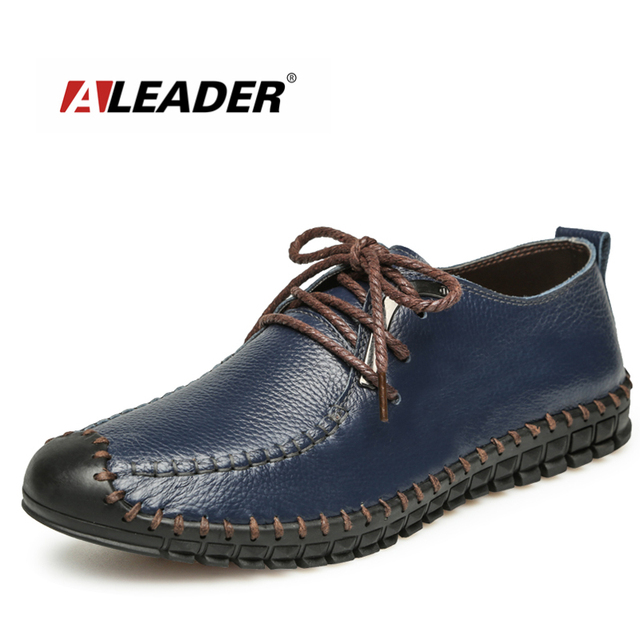 Aleader 2016 New Fashion Flats Shoes Men Casual Genuine Leather Loafers For Men Dress Driving Moccasins Men Footwear Sapatos