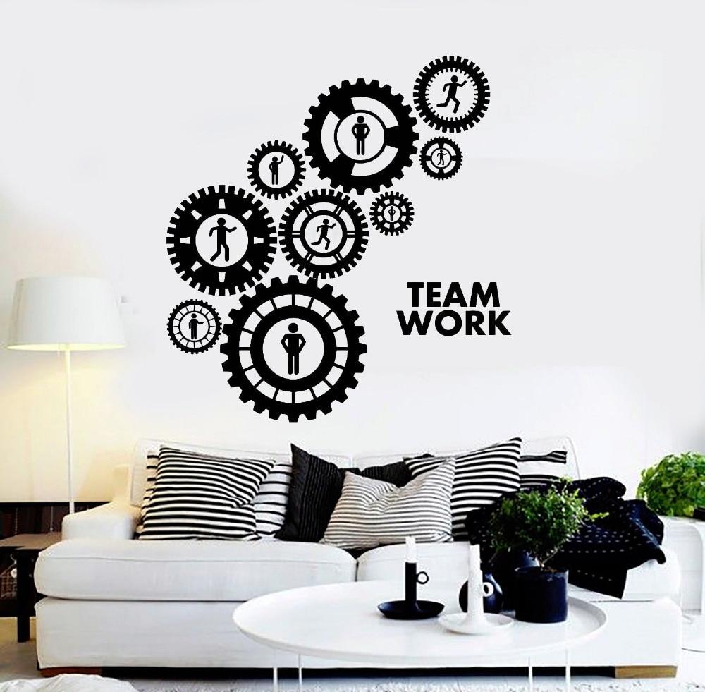Gearwheel Vinyl Wall Decals Teamwork Gears Office Decoration Stickers Art Interior Wall Decor Sofa Background 3d Wallpaper LA935