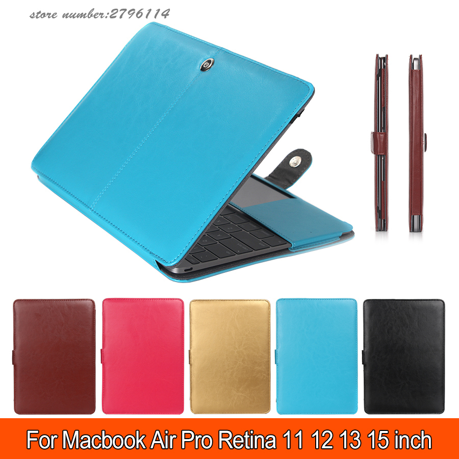 PU Leather Smart Holster Protective Laptop Sleeve Case for Apple Macbook 11 13 15 Pro/Retina/Air Laptop Bag for Macbook