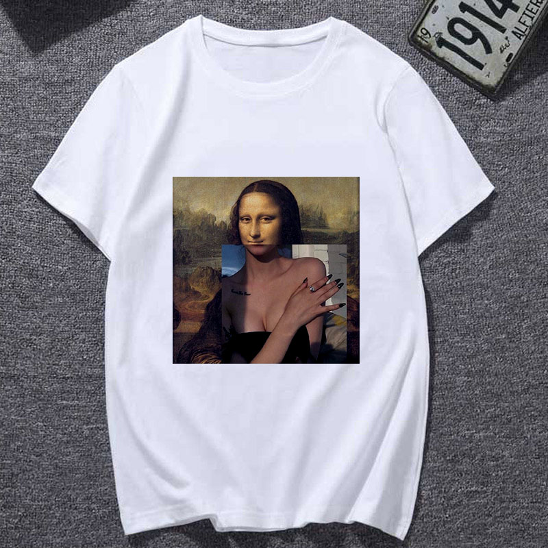 New Summer Tshirt Spoof Mona Lisa Fun Fashion Print T-shirt Personality Harajuku Funny Casual Thin Section T Shirt Women Clothes