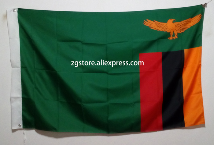 Zambia Lusaka Africa National Flag All Over The World hot sell goods 3X5FT 150X90CM Banner brass metal holes
