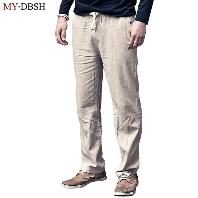 hoge kwaliteit heren linnen broek zomer stijl mode joggers effen