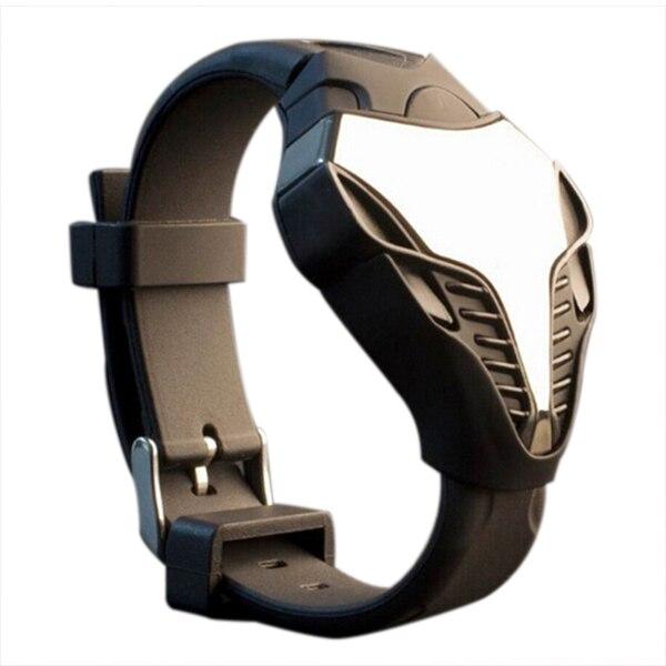 YCYS-LED Watch Digital Fashion Cobra Men's Watch Silicone Iron Man E Dial Sports Wristwatches Boy Combat LED Resin Strap Black