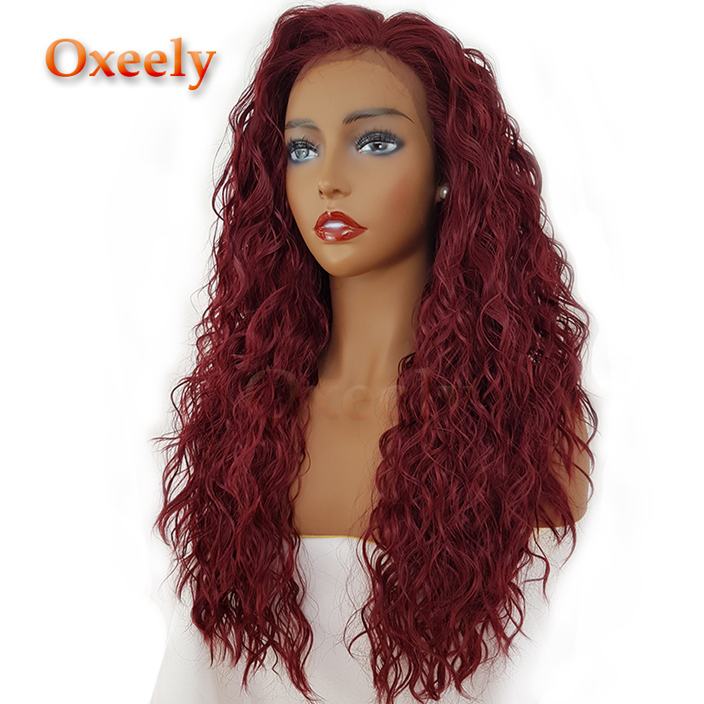 Oxeely Loose Deep Curly Lace Front Wigs Glueleess Synthetic Lace Front Wigs Burg Color Heat Resistant