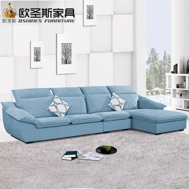 Fair Low Price 2017 Modern Living Room Furniture New Design L Shaped Sectional Suede Velvet Fabric Corner Sofa Set X189