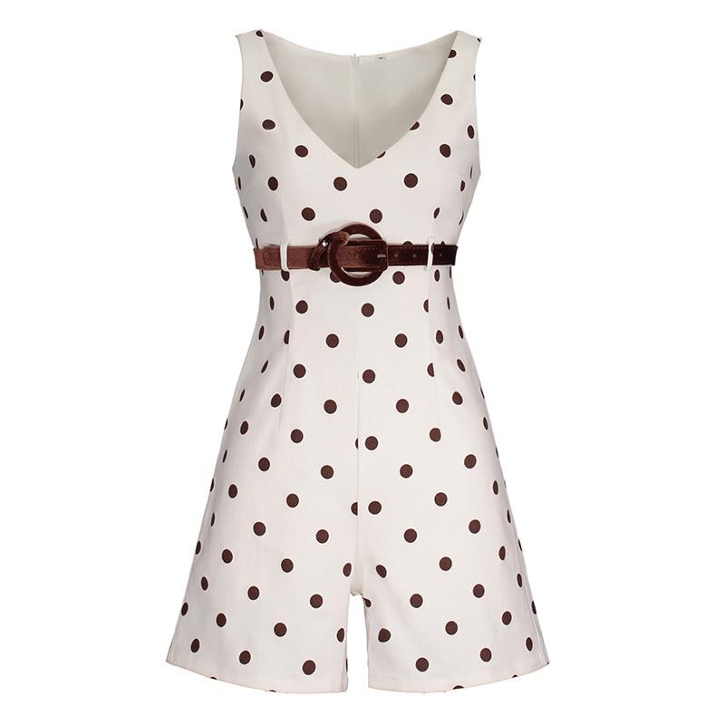women white polka dots playsuit retro summer office belt slim v-neck jumpsuits romper shorts high waist female vintage playsuits