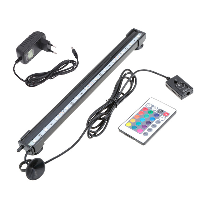 55cm 5.2W 21 LEDs Bubble Aquarium Lighting 120 Degree RGB 15 Colors IP68 Submersible Remote Control Fish Tank LED Lights Bar