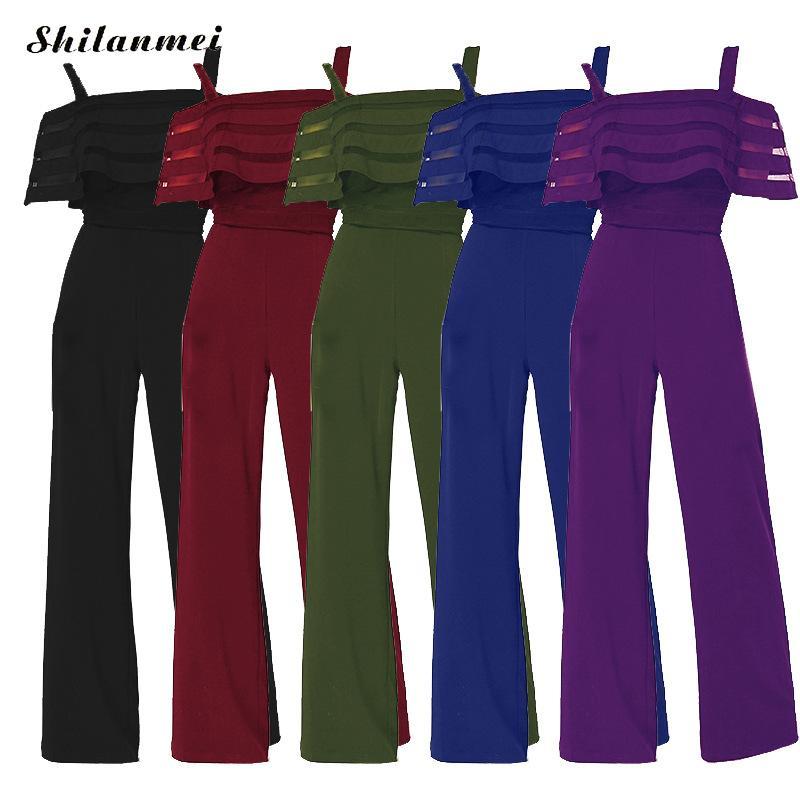 Women Jumpsuit Vintage Off Shoulder Strap Office Women Overalls Summer Plus Size Workwear Causal Wide Leg Pants Femme Romper 5XL