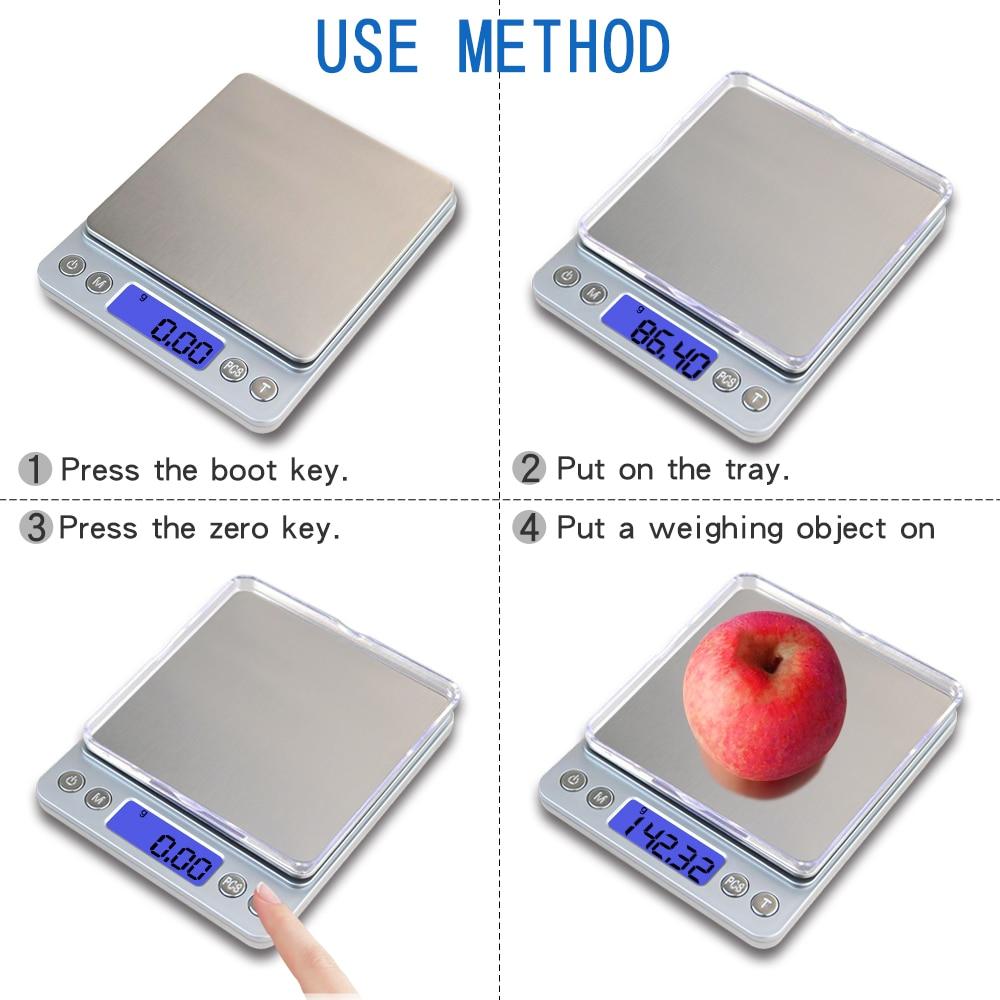 500g * 0.01g Escala digital de precisión de bolsillo Gram Plataforma - Instrumentos de medición - foto 4