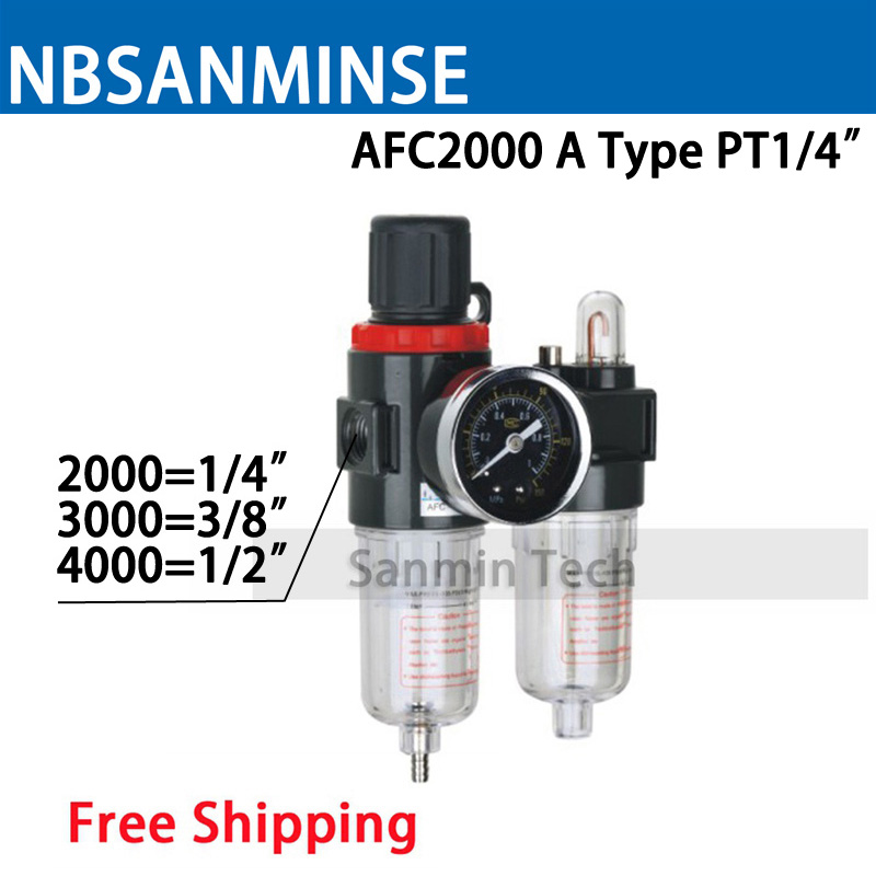 Air Preparation Unit AFC 2000 BFC 2000 1/4 3/8 1/2 Two Units Air Source Units Air Compressor Filter Regulator Auto Drain Sanmin 0 65 joint pipe bore dia afc 2000 pneumatic filter filtering regulator