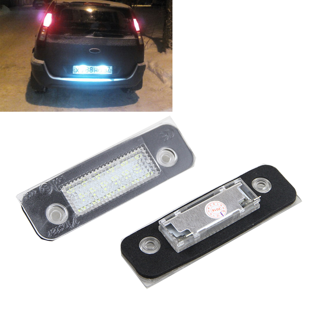 2 Pcs 12V 18 LEDs Bulb License Number Plate Lamps Light For Ford/Mondeo MK2/ Fiesta MK5/Fusion Error Free Replace Halogen bulb