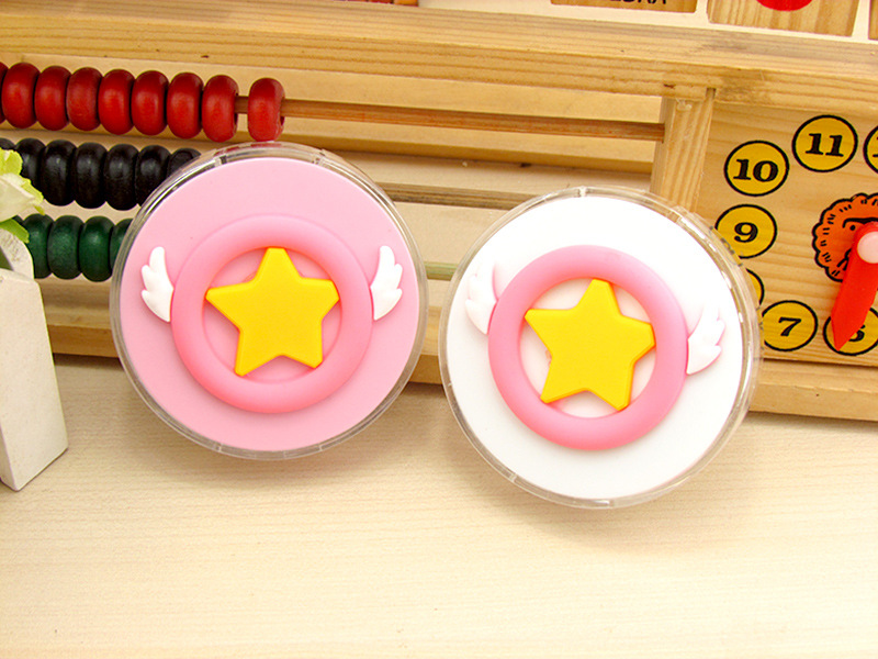 Liusventina Girl Gift Cute Cardcaptor Sakura Magic Wand Contact Lens Case For Lenses Container With Mirror Box For Color Lenses Elegant In Style Men's Glasses