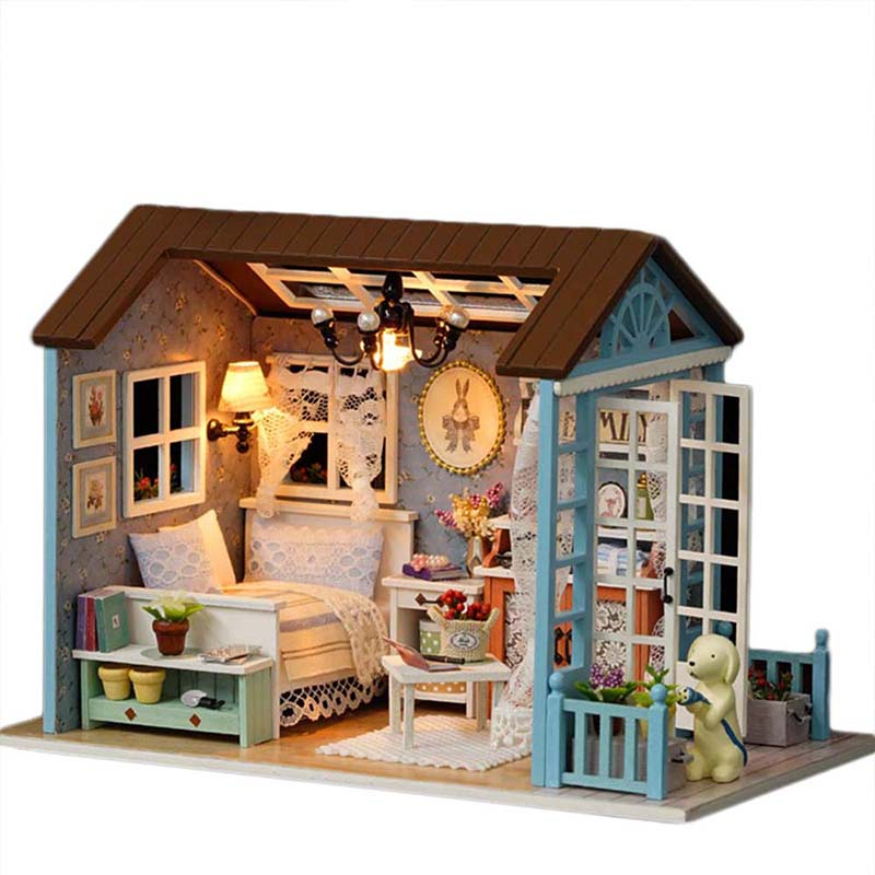 Us 16 3 48 Off Embly Diy Wooden Miniature Doll House Sanlan Time With Furniture Sets Led Lights Toy Dollhouse Birthday Gifts For Children In