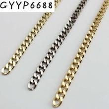5 metr 10M High Ending złoty kolor 7mm szerokość łańcuchy taśma metalowa z haczykiem dla kobiet torba torebka z łańcuszkiem zdejmowany długi pasek łańcuszkowy tanie tanio 1 1kg nolvo world E580 chain
