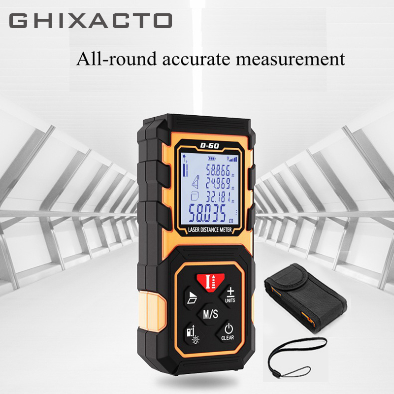 GHIXACTO Laser Rangefinder Level Measuring Device Digital Distance Meter Roulette 60m Trena Tape Measure Tools