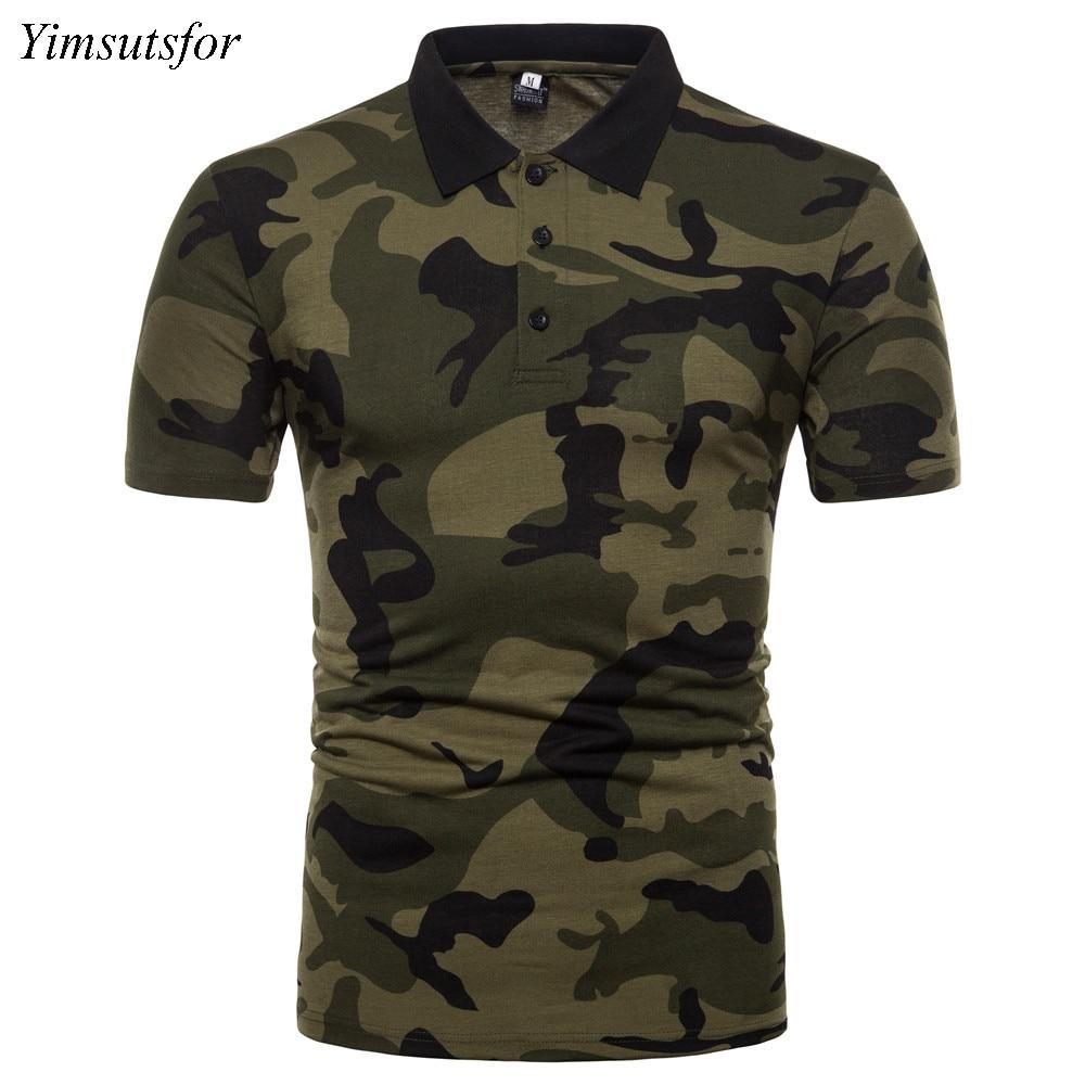 Yimsutsfor camouflage designer polo uomo manica corta 2018 estate nuovo polo di lusso uomo slim fit