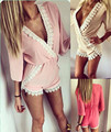Lace Patchwork Half Sleeve summer fashion regular beach playsuits short pants V neck Women's jumpsuit