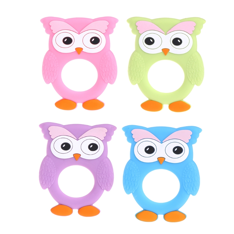 Cute Cartoon Baby Teethers Silicone Owl Diy Teething Necklace Food Grade Silicone Teether Baby Pendants
